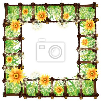 Plantilla de marco con flores amarillas pinturas para la pared ...