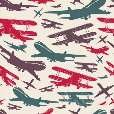 Cuadro Plantilla retro retro del aeroplano, fondo viejo textured para el cartel
