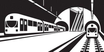 Cuadro Plataforma de la estación de metro con trenes - ilustración vectorial