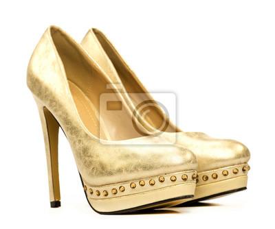 8758e4de5f78 Cuadro: Plataforma elegante zapatos de tacones altos en oro