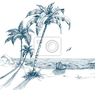 Cuadro Playa De Verano Con Palmeras Gaviotas Y Barco En La Costa