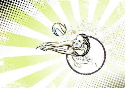 Cuadro playa retro de fondo del cartel de voleibol