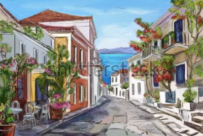 Cuadro playa soleada en Grecia. manos pintadas
