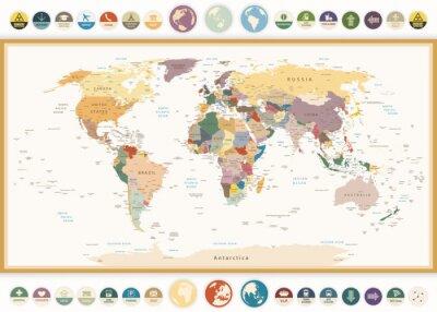 Cuadro Político Mapa del mundo con iconos planos y colores globes.Vintage.