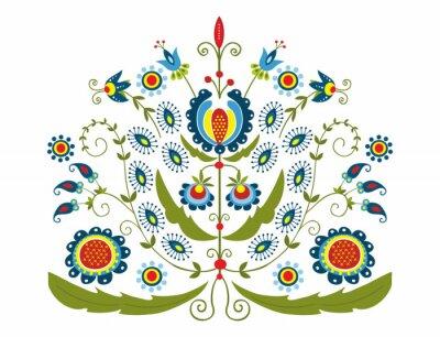 Cuadro Polski Wzor z dekoracyjnymi kwiatami