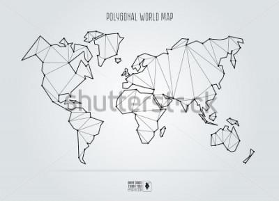 Cuadro Polygonal abstract world map. Vector illustration.