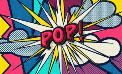 Cuadro Pop! Pop art funny comic speech word. Fashionable poster and banner. Social Media Connecting Blog Communication Content. Trendy and fashion color retro vintage illustration background. Easy editable.