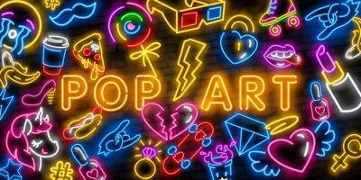 Cuadro Pop art icons set. Pop art neon sign. Bright signboard, light banner. Neon isolated icon, emblem. Heart, diamond, pizza, smile, hand, ice cream, star, donut and unicorn vector neon icon