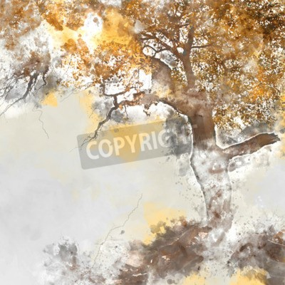 Cuadro Poplar tree in autumn season, watercolor background made in computer program