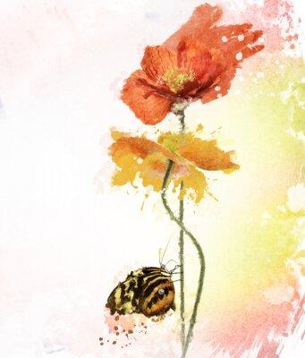 Cuadro Poppy Flores Acuarela