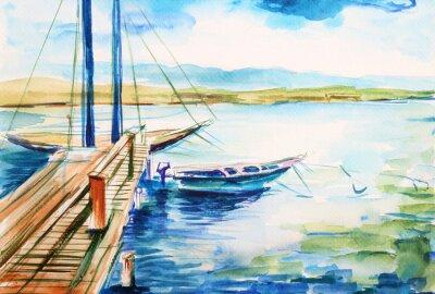 Cuadro Port nad jeziorem genevskim - ilustracja ręcznie malowana