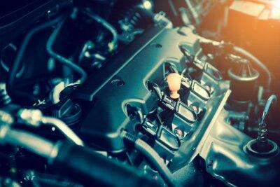 Cuadro Potente motor de un coche. Diseño interno del motor con combustión y válvula en tono oscuro