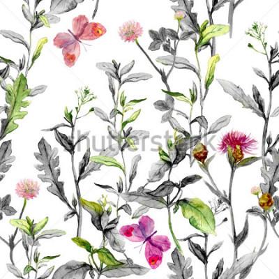 Cuadro Pradera flores, hierba, hierbas. Fondo herbario específico en los colores blancos y negros para el diseño de la moda. Acuarela