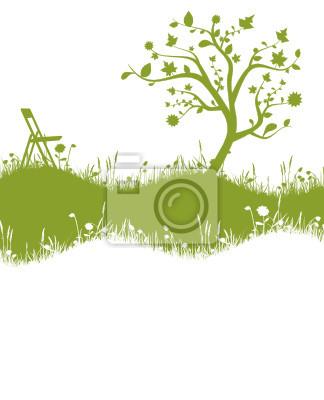 Prado verde con árboles y una silla