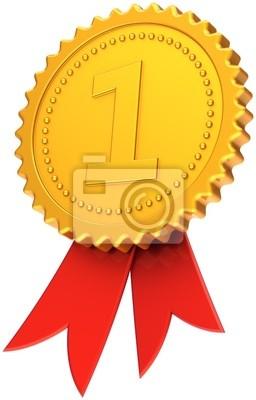 Premio cinta primer lugar oro rojo. Número uno medalla