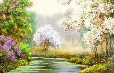 Cuadro Primavera, árbol, río, pinturas paisaje