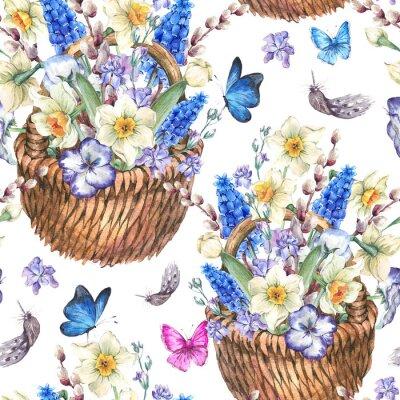 Cuadro Primavera patrón transparente con narcisos en mimbre
