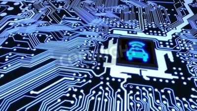 Cuadro Primer azul de la placa de circuito conectado con una CPU con un símbolo brillante del wifi del coche en el ejemplo superior elegante del concepto 3D del vehículo