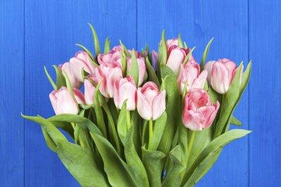 Cuadro Primer plano de ramo de tulipanes rosas