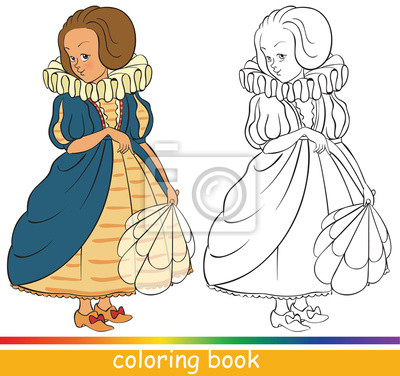 Cuadro Princesa Joven Linda Dibujo Para Colorear O Dibujo Para Colorear