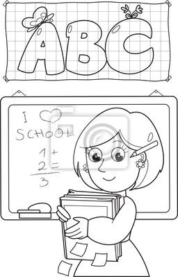 Cuadro Profesor De La Escuela Para Colorear De Dibujos Animados Con