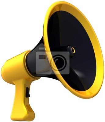 Propaganda del megáfono. Altavoz con estilo del amarillo negro