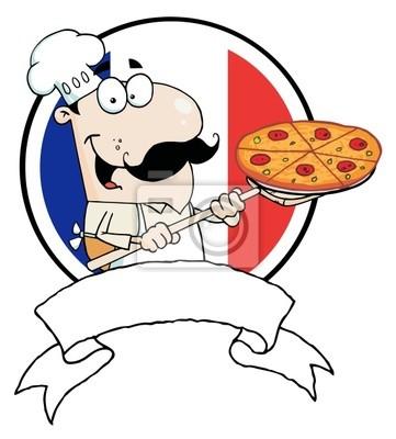 Proud chef inserción de una pizza de pepperoni pinturas para la ...