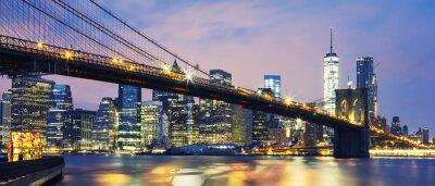 Cuadro Puente de Brooklyn al anochecer