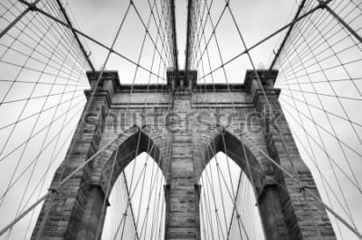 Cuadro Puente de Brooklyn, Nueva York, ciudad, detalle arquitectónico en blanco y negro atemporal