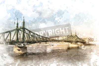 Cuadro Puente de la libertad en Budapest, Hungría. Fotografía de destino turístico con sityscape y el río.