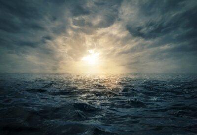 Cuadro Puesta de sol en el mar tormentoso