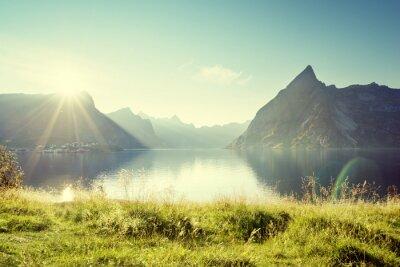 Cuadro Puesta de sol en las islas Lofoten, Noruega