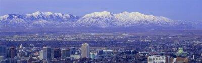 Cuadro Puesta del sol panorámica de Salt Lake City con nevadas montañas de Wasatch