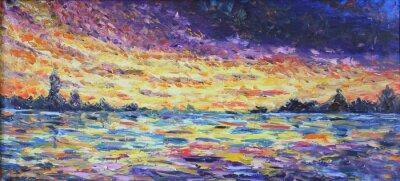 Cuadro Puesta del sol sobre el lago, pintura al óleo
