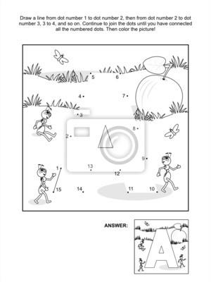 punto-a-punto y página para colorear - letra a, manzana y hormigas ...