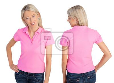Cuadro Puntos de vista de la mujer que usa la camisa polo rosa 7381403247878
