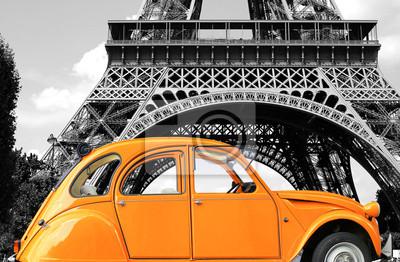 Cuadro Pureza de color naranja retro del coche en la calle