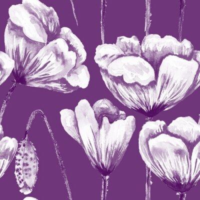 Cuadro Purple and white poppy pattern