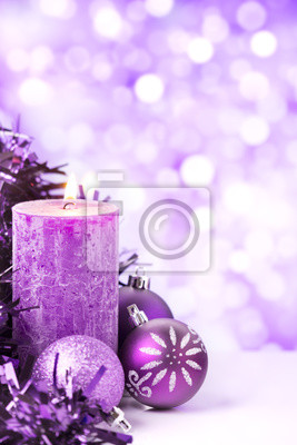 Purple Christmas scene with baubles and candles