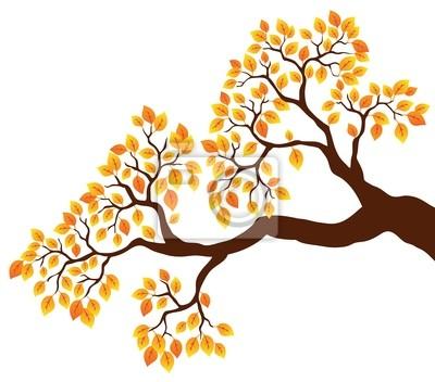 Rama de árbol con hojas de naranja 1 pinturas para la pared ...