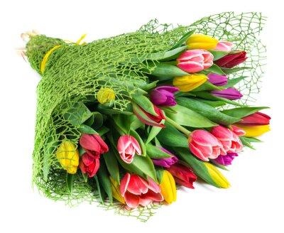 Cuadro Ramo de 25 tulipanes de colores, aislados en fondo blanco