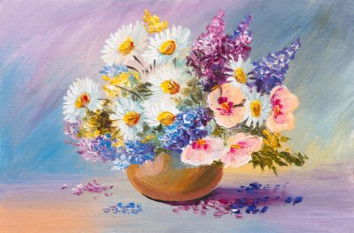 Cuadro ramo de flores de verano, aún pintura al óleo de la vida