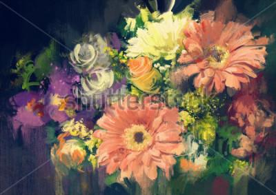 Cuadro Ramo de flores en estilo pintura al óleo, ilustración.