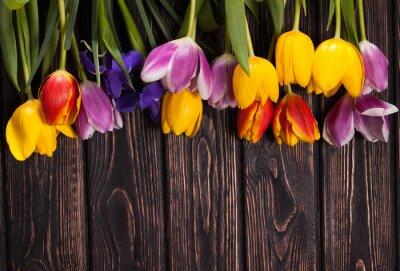 Cuadro Ramo de tulipanes en madera
