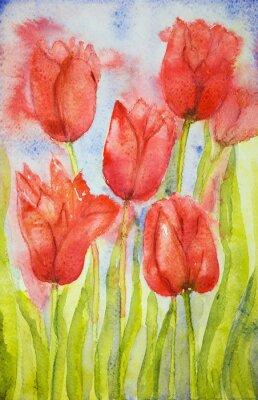 Cuadro Ramo de tulipanes en un campo. La técnica de pinchado cerca de los bordes da un efecto de enfoque suave debido a la rugosidad superficial alterada del papel.