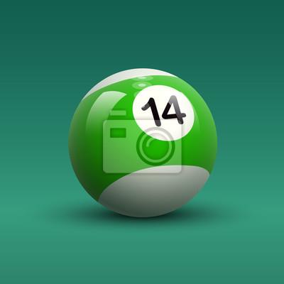 Cuadro Rayas de color vectorial bola de billar número verde y blanco 14 en  el cuadro dcb793cba9b13
