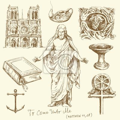religión, cristianismo - conjunto de dibujado a mano