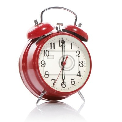 Reloj despertador de estilo antiguo de color rojo aislado en ...