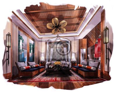 Pintura Para Salas De Estar : Representación interior pintura haciendo que la sala de estar