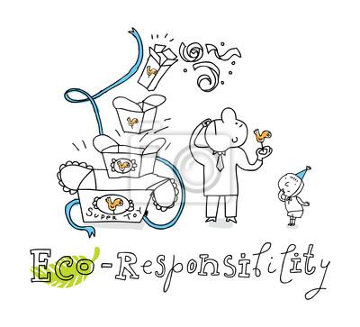 Responsabilidad Ecológica Dibujo Vectorial Pinturas Para La Pared
